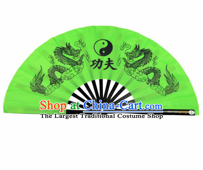 Chinese Handmade Printing Dragon Martial Arts Green Fans Accordion Fan Traditional Kung Fu Folding Fan