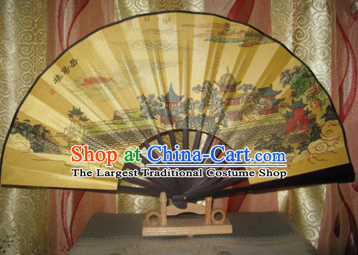 Chinese Handmade Painting Yueyang Tower Yellow Fans Accordion Fan Traditional Decoration Folding Fan