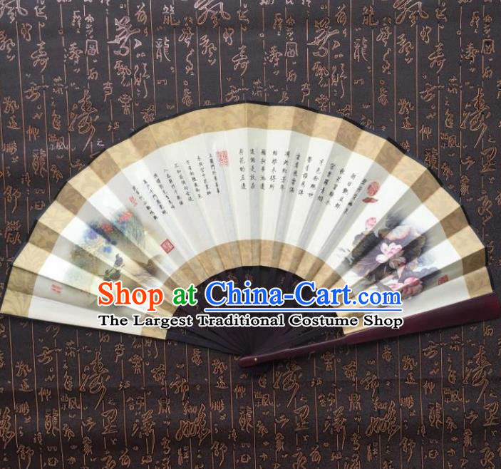 Chinese Handmade Painting Gathering Lotus Seeds Fans Accordion Fan Traditional Decoration Folding Fan