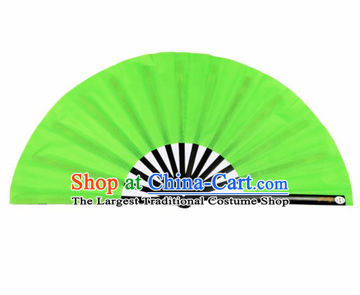 Chinese Handmade Martial Arts Green Fans Accordion Fan Traditional Kung Fu Folding Fan
