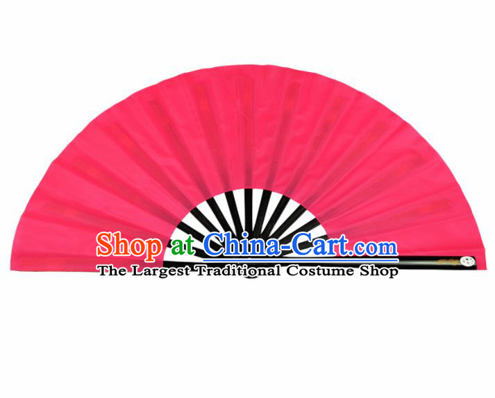 Chinese Handmade Martial Arts Rosy Fans Accordion Fan Traditional Kung Fu Folding Fan