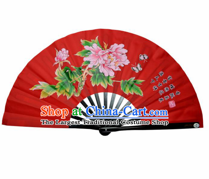 Chinese Handmade Martial Arts Printing Peony Red Fans Accordion Fan Traditional Kung Fu Folding Fan