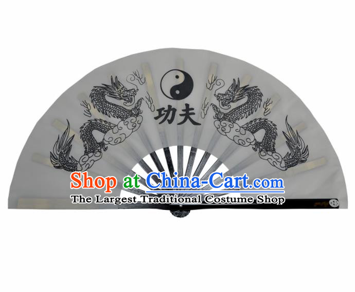 Chinese Handmade Martial Arts Printing Dragons Grey Silk Fans Accordion Fan Traditional Kung Fu Folding Fan