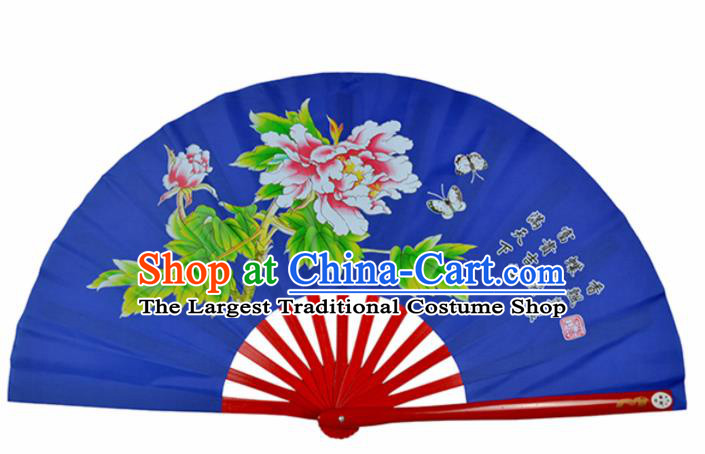 Chinese Handmade Martial Arts Printing Peony Royalblue Silk Fans Accordion Fan Traditional Kung Fu Folding Fan