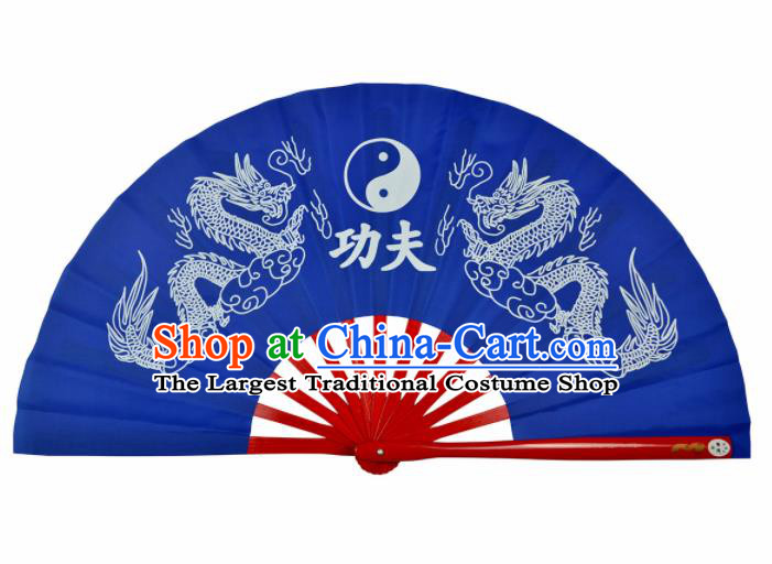 Chinese Handmade Martial Arts Printing Dragons Royalblue Silk Fans Accordion Fan Traditional Kung Fu Folding Fan