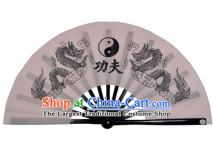 Chinese Handmade Martial Arts Printing Dragons White Silk Fans Accordion Fan Traditional Kung Fu Folding Fan