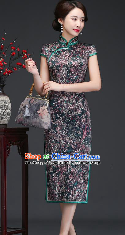 Traditional Chinese Printing Deep Green Silk Cheongsam Mother Tang Suit Qipao Dress for Women