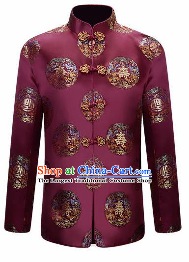 Traditional Chinese Purple Brocade Cotton Padded Coat New Year Tang Suit Stand Collar Overcoat for Old Men