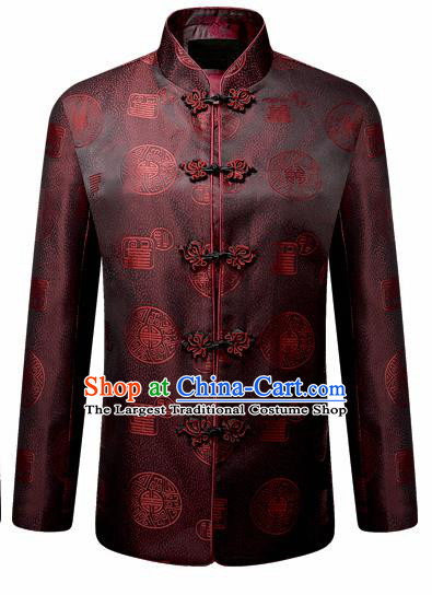 Traditional Chinese Brown Brocade Cotton Padded Coat New Year Tang Suit Stand Collar Overcoat for Old Men