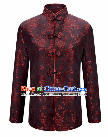 Traditional Chinese Printing Roses Brown Brocade Cotton Padded Coat New Year Tang Suit Stand Collar Overcoat for Old Men