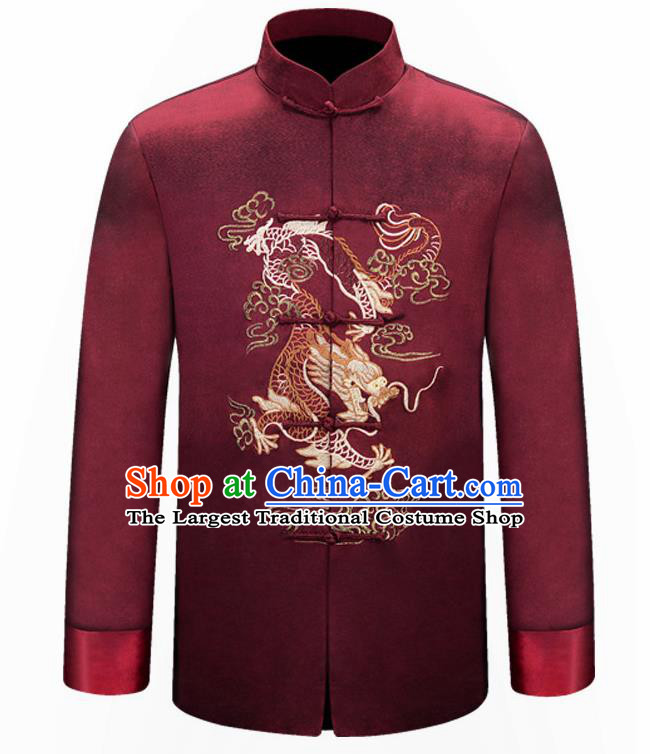 Traditional Chinese Embroidered Dragon Purplish Red Brocade Cotton Padded Coat New Year Tang Suit Stand Collar Overcoat for Old Men