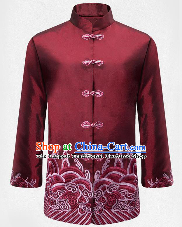 Traditional Chinese Embroidered Waves Purplish Red Brocade Cotton Padded Coat New Year Tang Suit Stand Collar Overcoat for Old Men