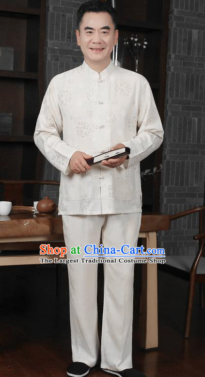Traditional Chinese Tang Suit White Silk Outfits Tai Chi Training Costumes for Old Men
