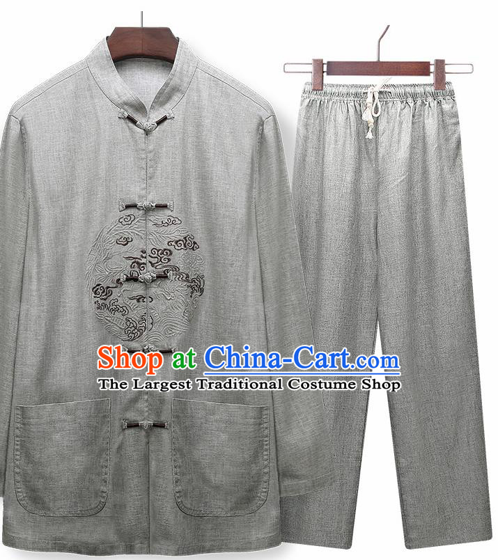Traditional Chinese Tang Suit Embroidered Grey Silk Outfits Tai Chi Training Costumes for Old Men