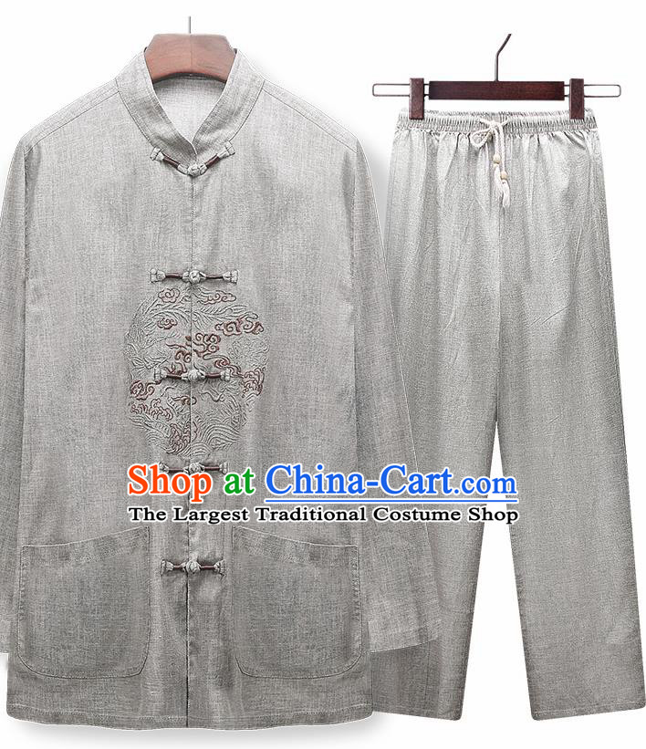 Traditional Chinese Tang Suit Embroidered Light Grey Silk Outfits Tai Chi Training Costumes for Old Men