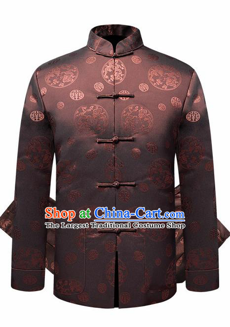 Traditional Chinese Dragon Pattern Brown Brocade Cotton Padded Coat New Year Tang Suit Overcoat for Old Men