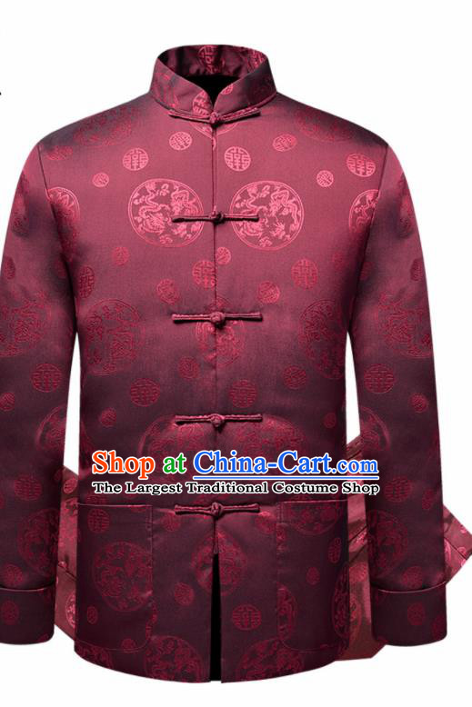 Traditional Chinese Dragon Pattern Wine Red Brocade Cotton Padded Coat New Year Tang Suit Overcoat for Old Men