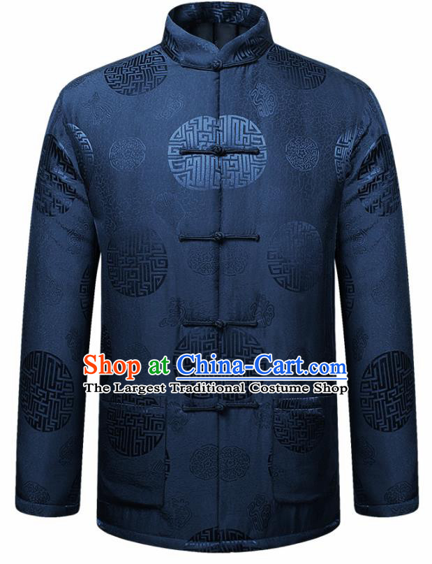 Traditional Chinese Lucky Pattern Navy Brocade Cotton Padded Coat New Year Tang Suit Overcoat for Old Men