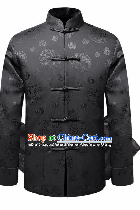 Traditional Chinese Dragon Pattern Black Brocade Cotton Padded Coat New Year Tang Suit Overcoat for Old Men