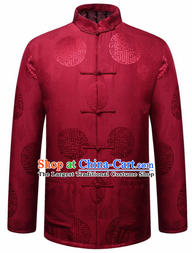 Traditional Chinese Lucky Pattern Red Brocade Cotton Padded Coat New Year Tang Suit Overcoat for Old Men