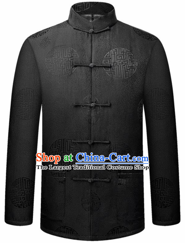 Traditional Chinese Lucky Pattern Black Brocade Cotton Padded Coat New Year Tang Suit Overcoat for Old Men