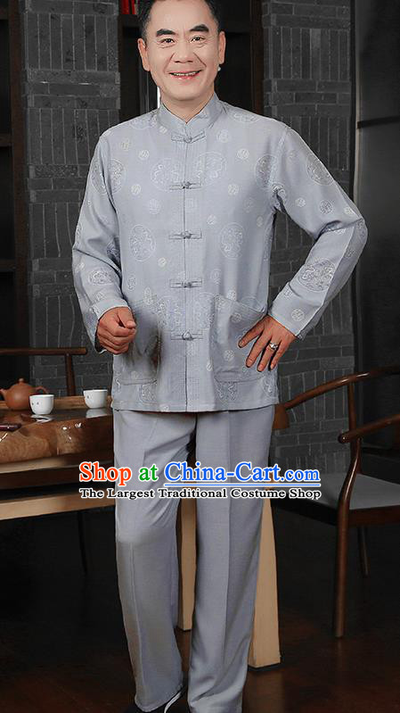 Traditional Chinese Tang Suit Grey Silk Outfits Tai Chi Training Costumes for Old Men