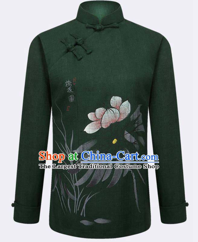 Traditional Chinese Tang Suit Printing Lotus Deep Green Blouse Tai Chi Training Costumes for Old Women