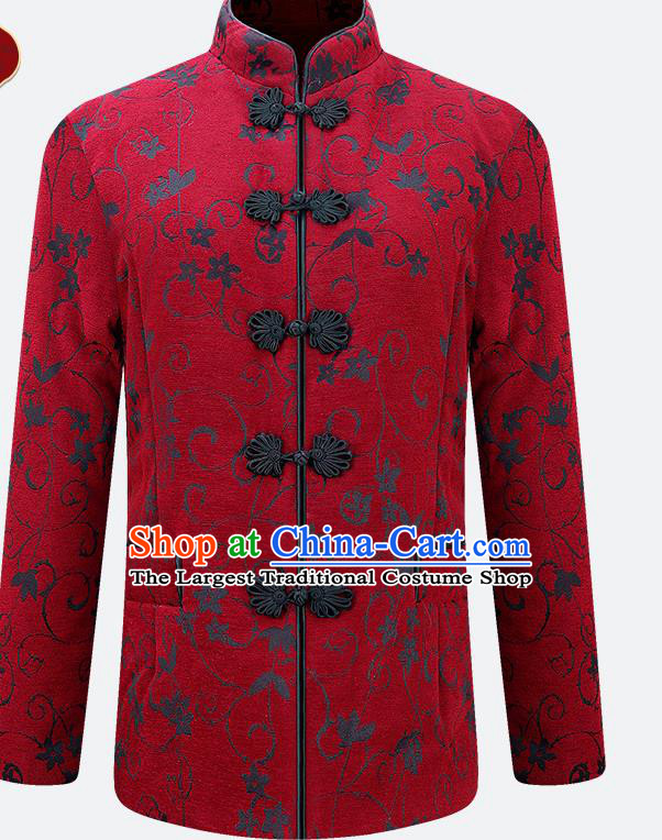 Traditional Chinese Tang Suit Red Jacket Tai Chi Training Costumes for Old Women