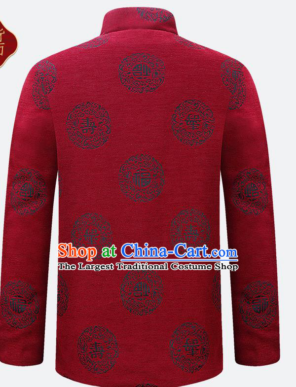 Traditional Chinese Red Velvet Cotton Wadded Jacket New Year Tang Suit Overcoat for Old Men