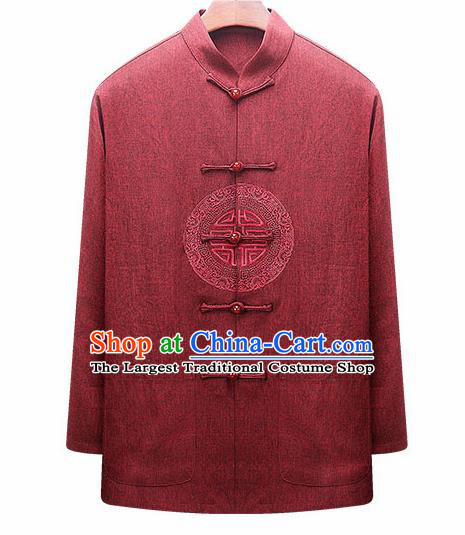 Traditional Chinese Red Woolen Jacket New Year Tang Suit Overcoat for Old Men