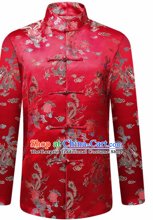 Traditional Chinese Red Cotton Wadded Jacket New Year Tang Suit Overcoat for Old Men