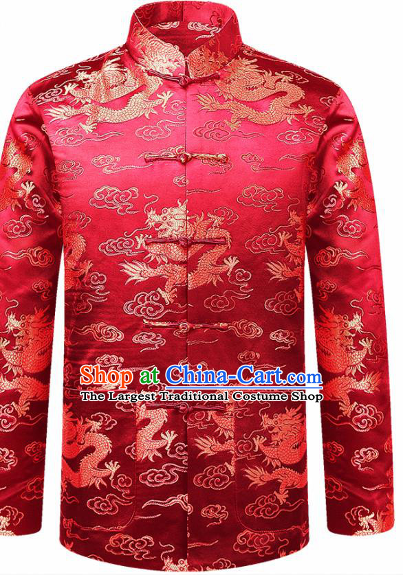 Traditional Chinese Cloud Dragon Red Brocade Cotton Wadded Jacket New Year Tang Suit Overcoat for Old Men