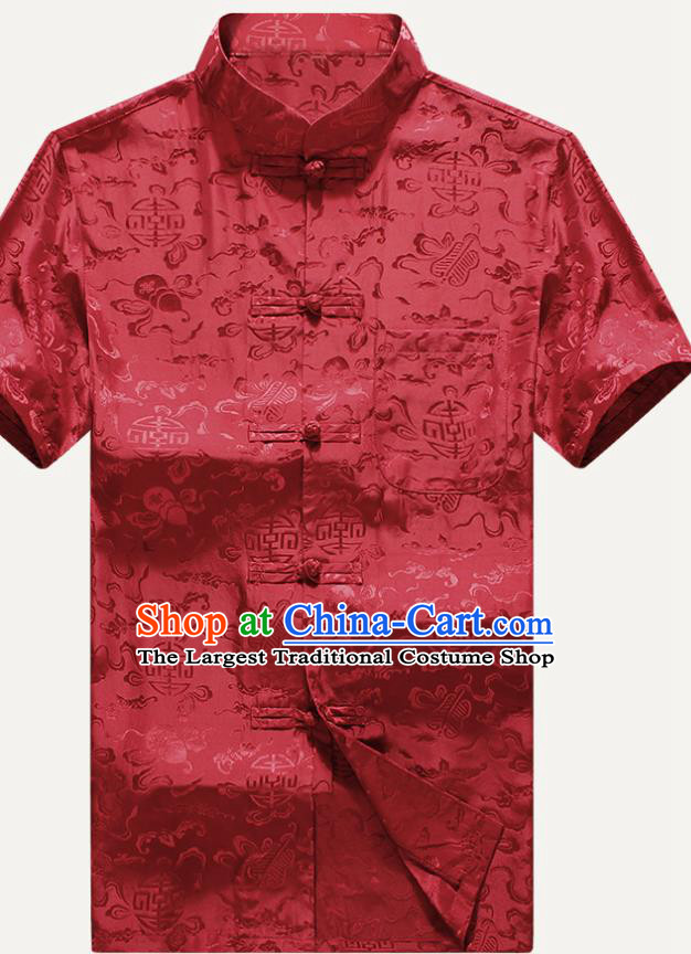 Traditional Chinese Tang Suit Red Silk Shirt Tai Chi Training Costumes for Old Men