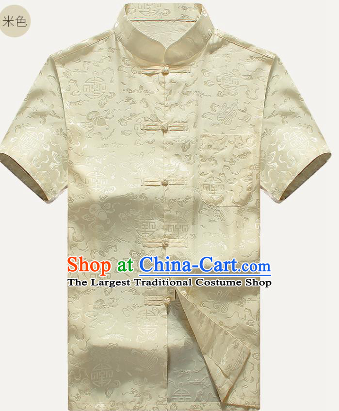 Traditional Chinese Tang Suit Beige Silk Shirt Tai Chi Training Costumes for Old Men
