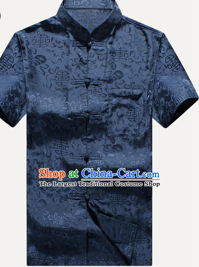 Traditional Chinese Tang Suit Navy Silk Shirt Tai Chi Training Costumes for Old Men