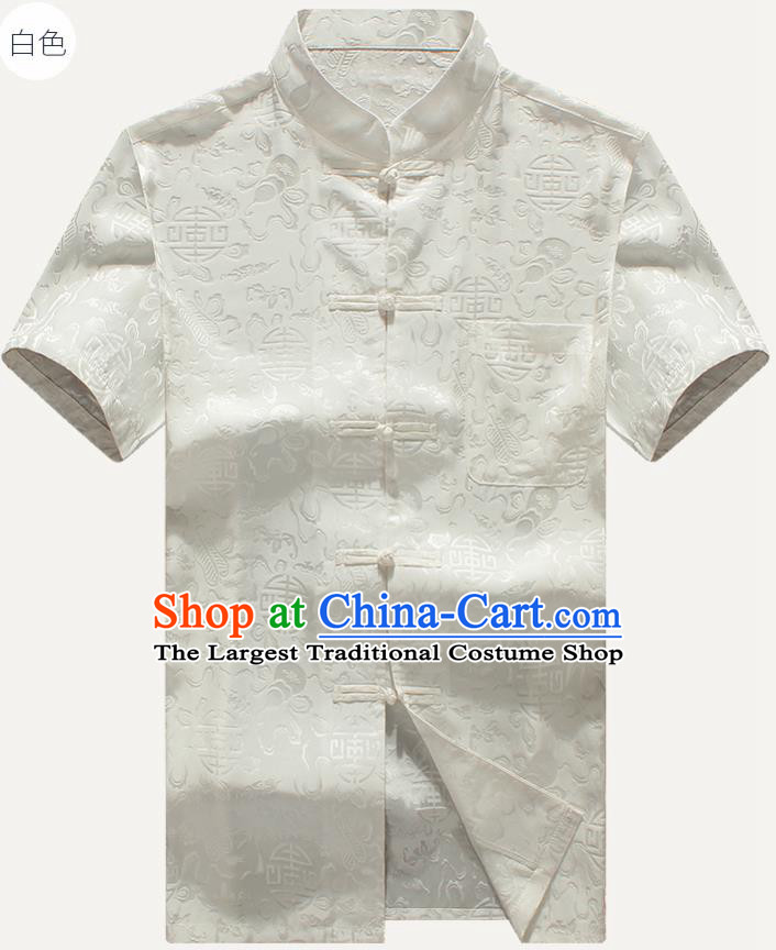 Traditional Chinese Tang Suit White Silk Shirt Tai Chi Training Costumes for Old Men
