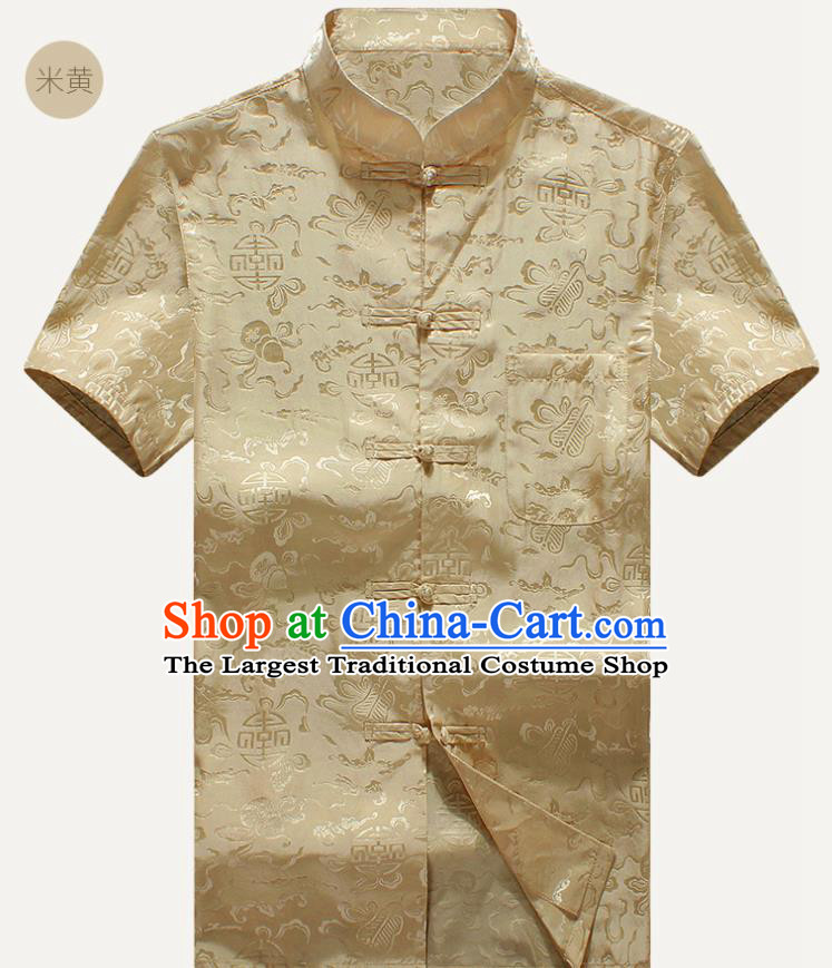 Traditional Chinese Tang Suit Golden Silk Shirt Tai Chi Training Costumes for Old Men
