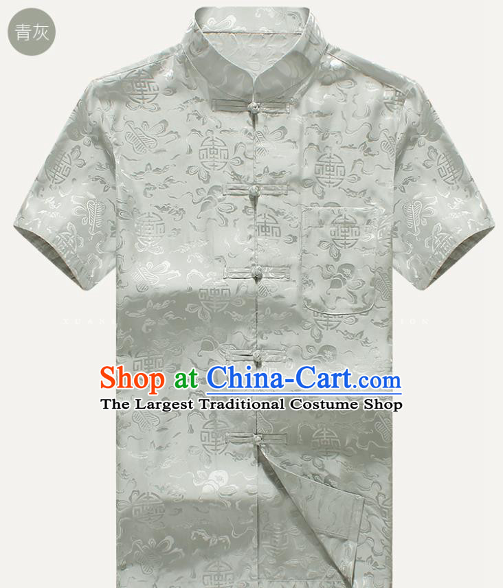 Traditional Chinese Tang Suit Light Grey Silk Shirt Tai Chi Training Costumes for Old Men