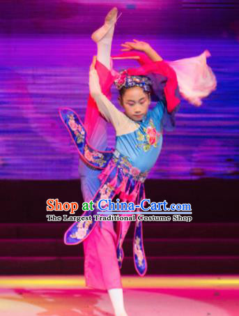 Traditional Chinese Children Classical Dance Xiu Se Dress Stage Show Costume for Kids