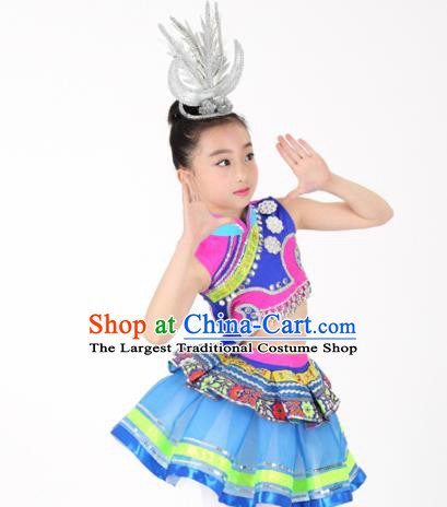 Traditional Chinese Child Yao Nationality Blue Skirt Ethnic Minority Folk Dance Costume for Kids