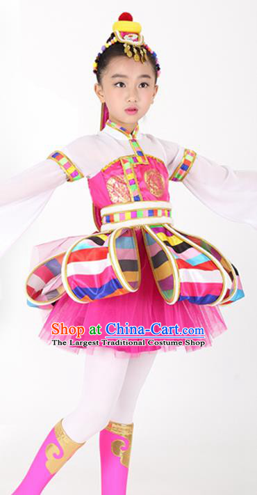 Traditional Chinese Child Tibetan Nationality Rosy Dress Ethnic Minority Folk Dance Costume for Kids
