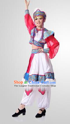 Traditional Chinese Mongol Nationality Princess Dress Ethnic Minority Folk Dance Costume for Women