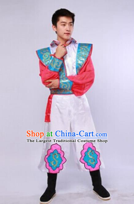 Traditional Chinese Mongol Nationality White Clothing Ethnic Minority Folk Dance Costume for Men