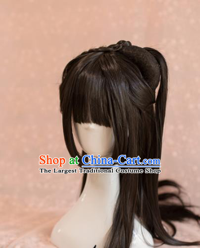 Traditional Chinese Ancient Song Dynasty Princess Wigs Cosplay Female Swordsman Chignon for Women