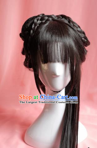 Traditional Chinese Han Dynasty Princess Wigs Sheath Cosplay Ancient Goddess Female Swordsman Chignon for Women