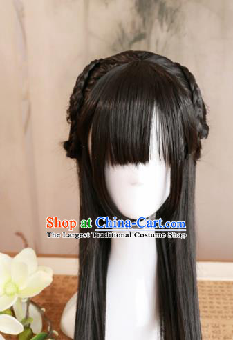 Traditional Chinese Song Dynasty Princess Wigs Cosplay Ancient Goddess Female Swordsman Chignon for Women