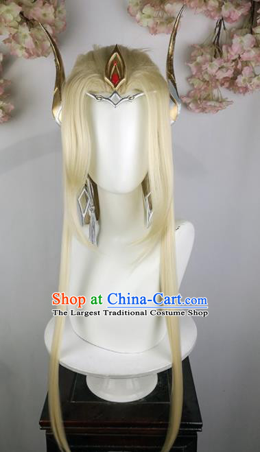Traditional Chinese Cosplay Swordsman Golden Wigs Sheath Ancient Taoist Chignon and Hair Accessories for Men