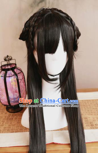 Traditional Chinese Ming Dynasty Princess Bai Zhi Wigs Cosplay Ancient Goddess Female Swordsman Chignon for Women