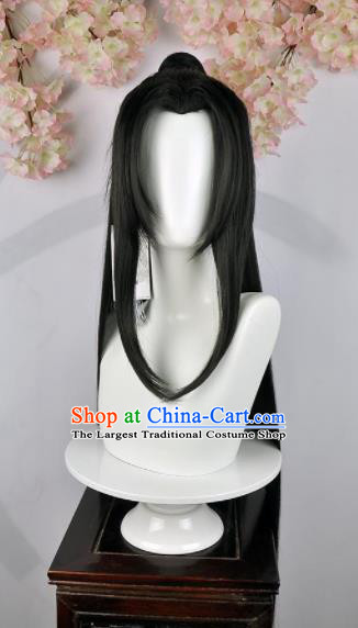 Traditional Chinese Cosplay Swordsman Wigs Sheath Ancient Taoist Prince Chignon for Men