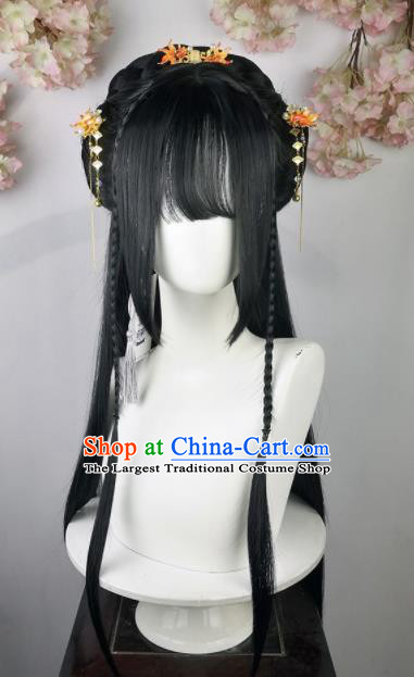 Traditional Chinese Cosplay Flowers Goddess Wigs Sheath and Hairpins Ancient Female Swordsman Princess Chignon for Women